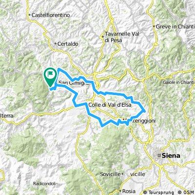 75km San Gimignano kleine Straßen Poggi - Monteriggioni - Colle di Val - San Gimignano