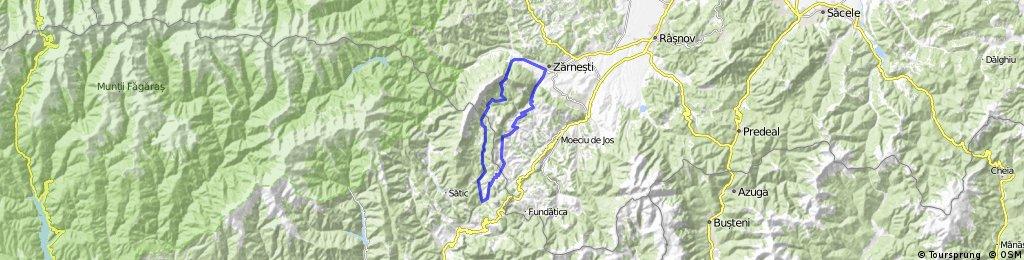 Traseu MTB: Dambovicioara-Ciocanu-Sirnea-Pestera-Magura-Prapastiile Zarnestiului-La Table-Poiana Grind-Brusturet-Dambovicioara