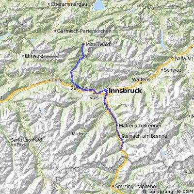Tour Großglockner-Runde 07_Gries am Brenner - Mittenwald