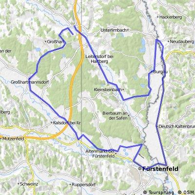 neustift-großhartmannsdorf-Großwilfersdorf-Fürstenfeld-Rudetsdorf-Deutschkaltenbrunn-Neudau-Burgau-Blumau-Bad Waltersdorf-Sebersdorf
