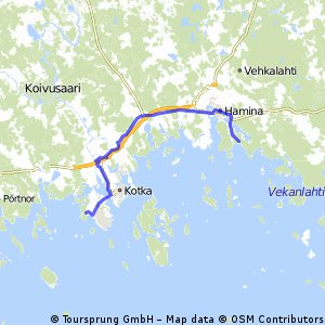 Cycling routes and bike maps in and around Kotka Bikemap Your
