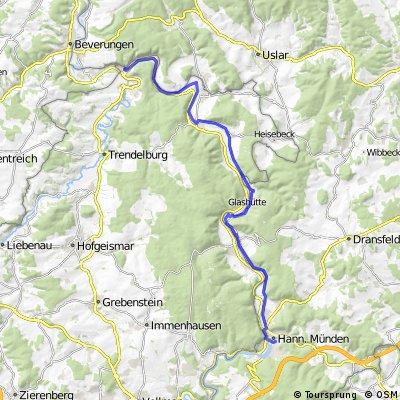 Weserradtour Tag 1  (bad Karlshafen)
