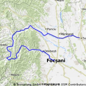 Km Hilly Cycling Tour With Hm Altitude Difference In - Focşani map
