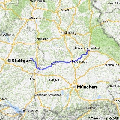 Mögglingen an der Brenz u Donau nach Regensburg