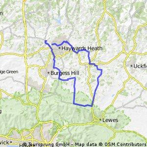 30 miles via Lewes