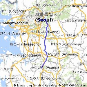 Seoul > Cheonan 108k | Bikemap - Your bike routes
