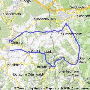 Groß-Zimmern über Breuberg an den Main, Niedernberg nach Dieburg