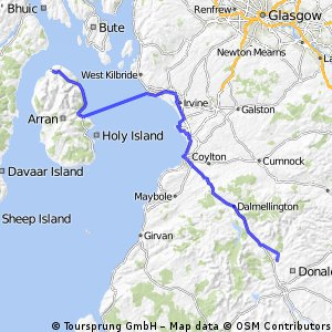 LEJOG Day 10 - Kendoon YH to Lochranza YH (via Ardrossen - Broddick ferry)