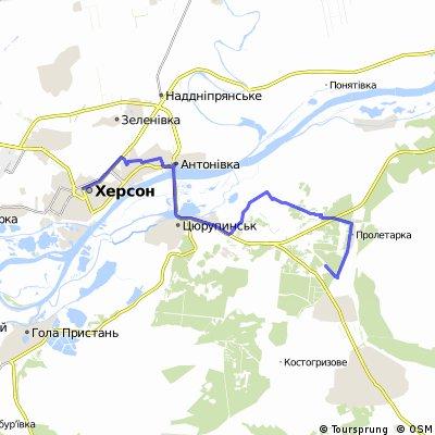Экспресс-Пролетарка-озёра-Песчановка-Херсон