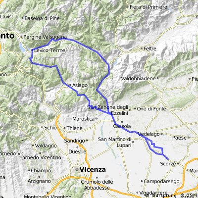 "Trebaseleghe-Bassano-Levico-""Kaiserjaegerweg""-Passo Vezzena-Asiago-Bassano-Trebaseleghe"