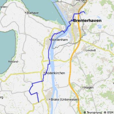 2. Etappe Radwandern: Ovelgönne (Hammelwarder Außendeich) – Stadland / Rodenkirchen – Nordenham – Blexen – Bremerhaven – Spadener See