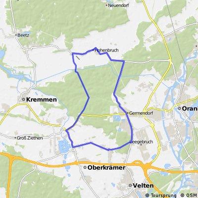 30 km Runde Vehlefanz - Germendorf - Hohenbruch - Johannisthal -  Schwante