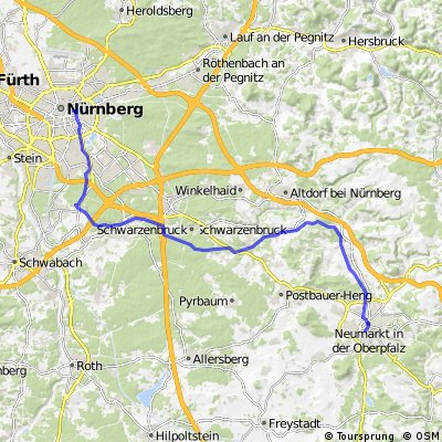 Cycling routes and bike maps in and around Nuremberg Bikemap