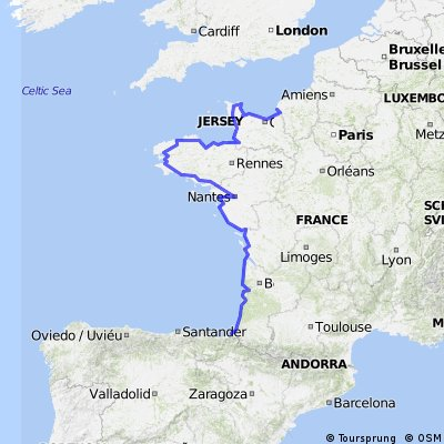 0.4 Frankreich Total: Le Havre - Saint-Jean-de-Luz (via Brest)