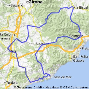 Cycling routes and bike maps in and around Lloret de Mar Bikemap
