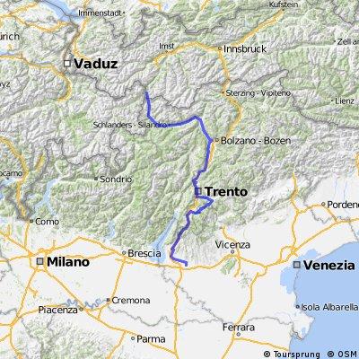 Etschtalradweg mit Kaiserjägerweg bis Verona