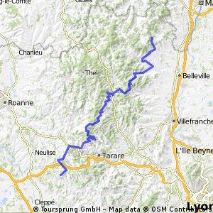 E5-1 Vauxrenard bis St-Agathe en Donzy 100 km 2200 HM