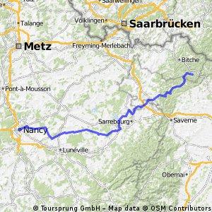 Nancy - Karlsruhe 1. Etappe bis Baerenthal 2015