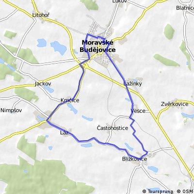 Moravské Budějovice - Vesce - Blížkovice - Láz - Nové Syrovice - Krnčice - Moravské Budějovice