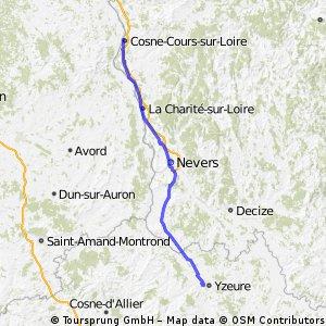Cosne-Cours-sur-Loire to Moulins