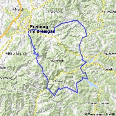 Freiburg - Schauinsland - Todtnau - Schluchsee - Hinterzarten - St.Peter - Freiburg