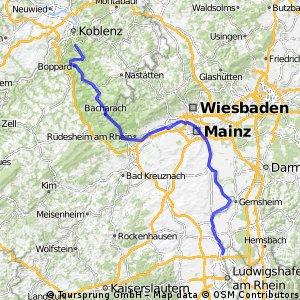 Ludwigshafen - Lahnstein links des Rheins