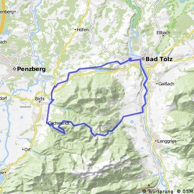 Obersteinbach - Gschwend -  Windpasselkopf - Görgelköpfl - Untermberg-  Isar - Bad Tölz - Golfclub - Bad Heilbrunn - Obersteinbach