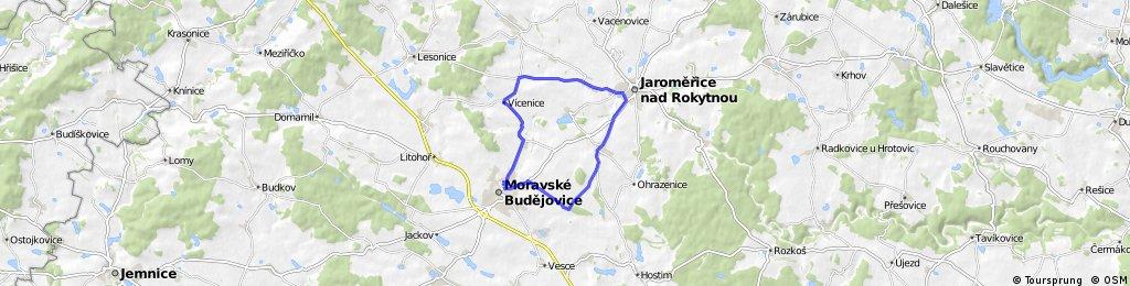 Moravské Budějovice - Ochoz - Blatnice - Jaroměřice nad Rokytnou - Popovice - Dolní Lažany - Vícenice - Lukov - Moravské Budějovice