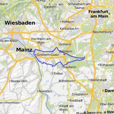 Mörfelden - Rüsselsheim - Mainspitze - Bauschheim - Nauheim - Mörfelden