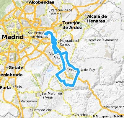 Coslada - Arganda del Rey - Canteras de Morata - Monte de Valdepeñas - Arganda del Rey - Velilla de San Antonio - Coslada