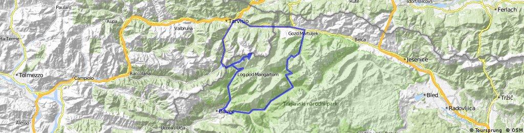 Bovec-Trenta-Vršič-Kranjska Gora-Rateče-Trbiž-Predel-Mangartsko sedlo-Log pod Mangartom-Bovec
