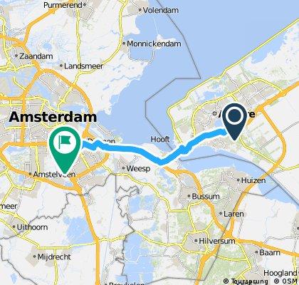 Van Postcode: 1326LV in Almere (Flevoland) naar Pieter Braaijweg 2 in Duivendrecht (Ouder-Amstel, Noord-Holland) - Fietsersbond Routeplanner