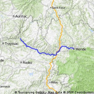 Mende to Entraygues-sur-Truyere 120km  1640m