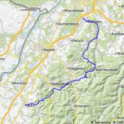 Ettlingen - Moosalbtal III (kleine Bergroute nach Bühl)