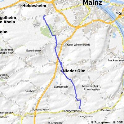 Köngernheim Mainz Finthen und zurück