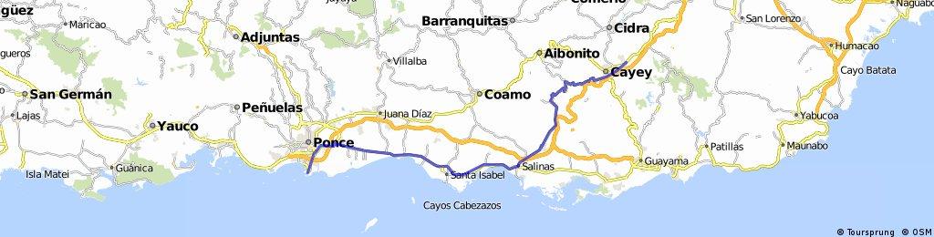 Cayey to La Guancha Ponce