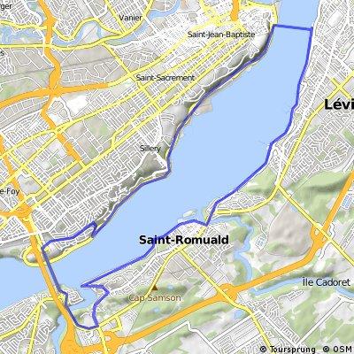 Boucle Québec-Lévis le long du fleuve