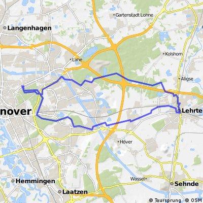 Hannover Vier Grenzen - nach Lehrte - und zurück