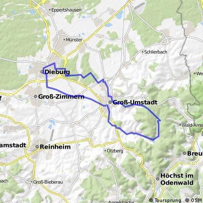 Dieburg - Heubach - Sausteige - Groß-Umstadt - Dieburg