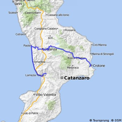 Cycling routes and bike maps in and around Lamezia Terme Bikemap