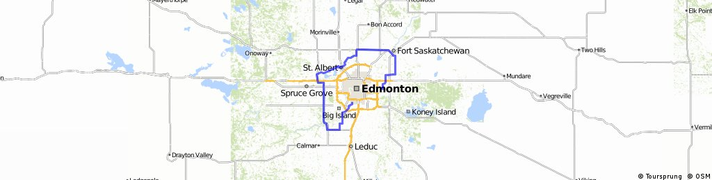 Around Edmonton but then back on south side