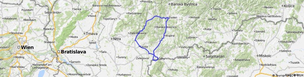 Zvolen-Nová Baňa- Levice - Šahy (HUN)- Krupina - Zvolen