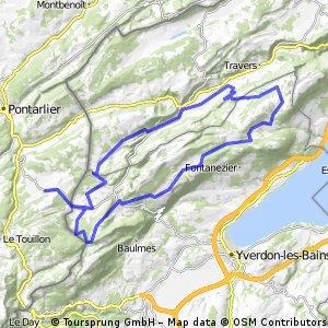 """Boucle """"Les Fourgs-Les Fourgs"""" via col de l'Aiguillon, le balcon du Jura, le val de Travers, l'Auberson"""
