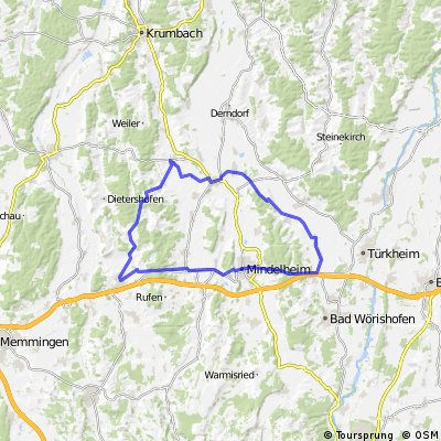 Rammingen-Mattsies-Pfafenhausen-Breitenbrunn-Bedernau-Erkheim-Kammlach-Mindelheim-Rammingen.gpx