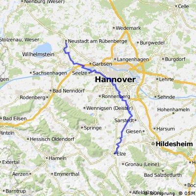 Ab Elze Bahnhof-via Hannover auf Leineradweg