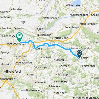 Weserradweg Hameln - Löhne 67km