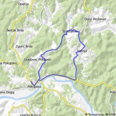 Map 8 — Pokupsko – Gladovec Pokupski – Strezojevo – Hotnja – Pokupsko (red route)
