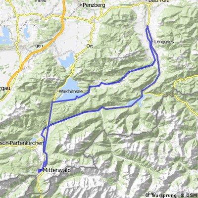 Lengries-Walchensee-Mittenwald-Sylvensteinstausee-Lenggries