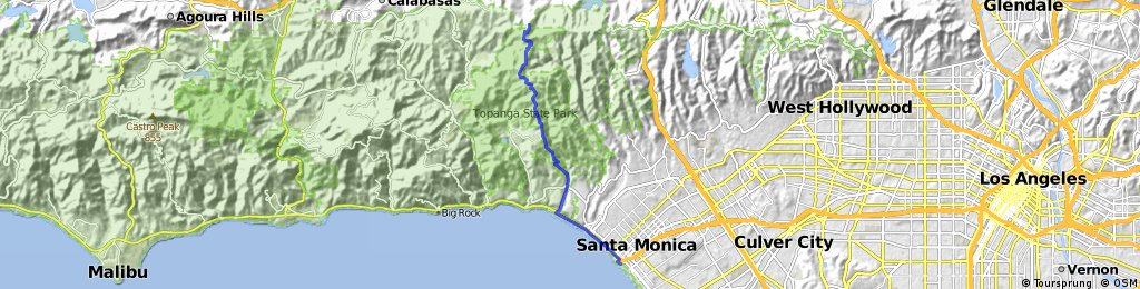 Reseda Blvd to Santa Monica Pier | Bikemap - Your bike routes
