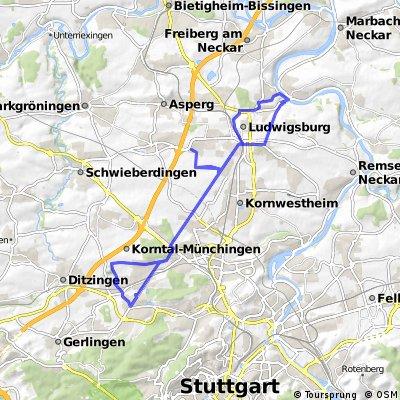 Ludwigsburg-WeilImDorf-Hoheneck & zurück